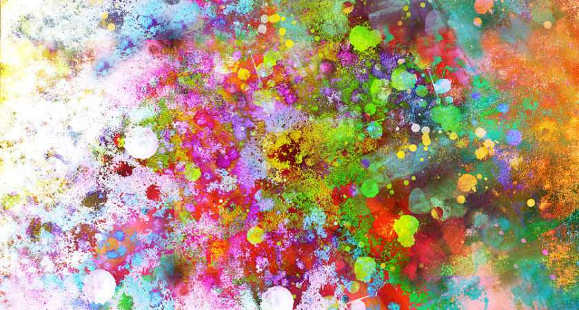 Abstract Art Color Splash Square Painting Ann Powell