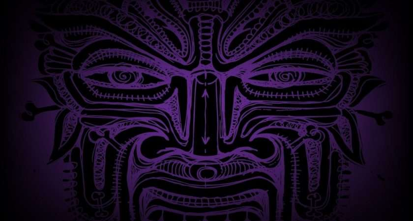 Abstract Tribal Purple Faces
