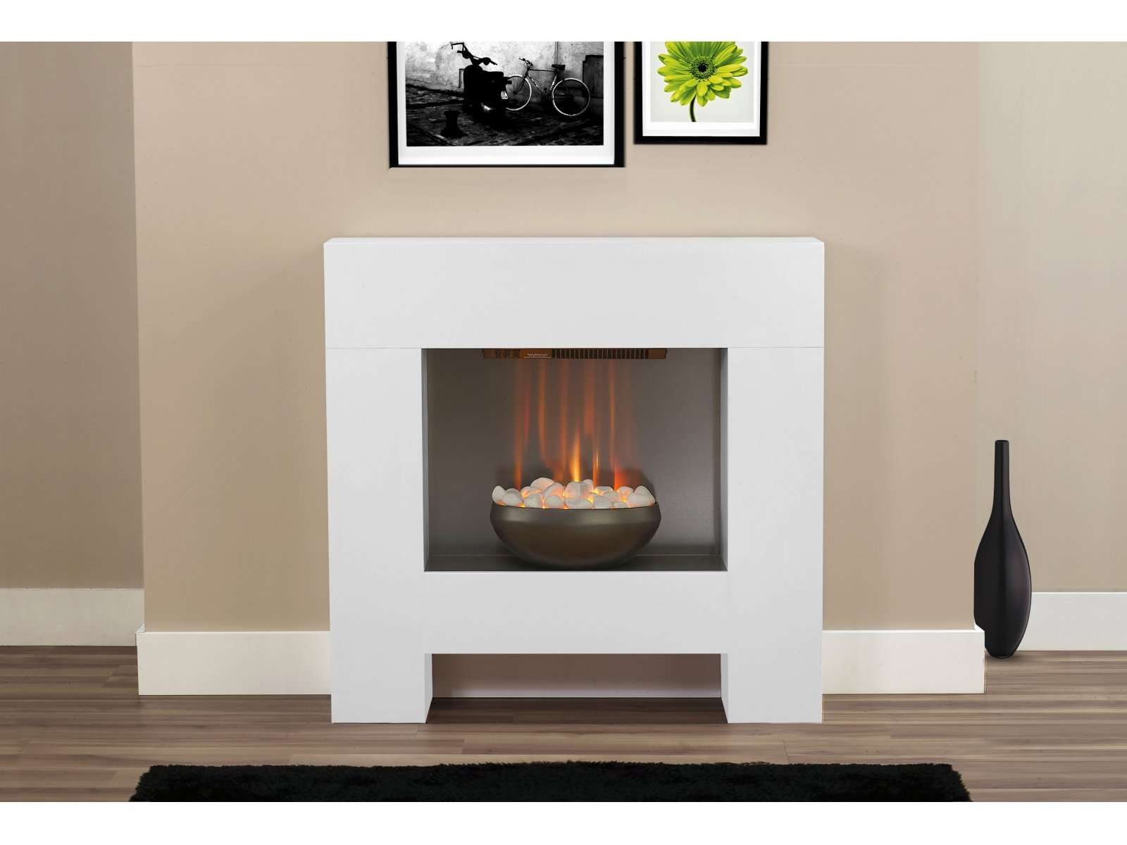 Adam Cubist Fireplace Suite White Electric Fire Inch