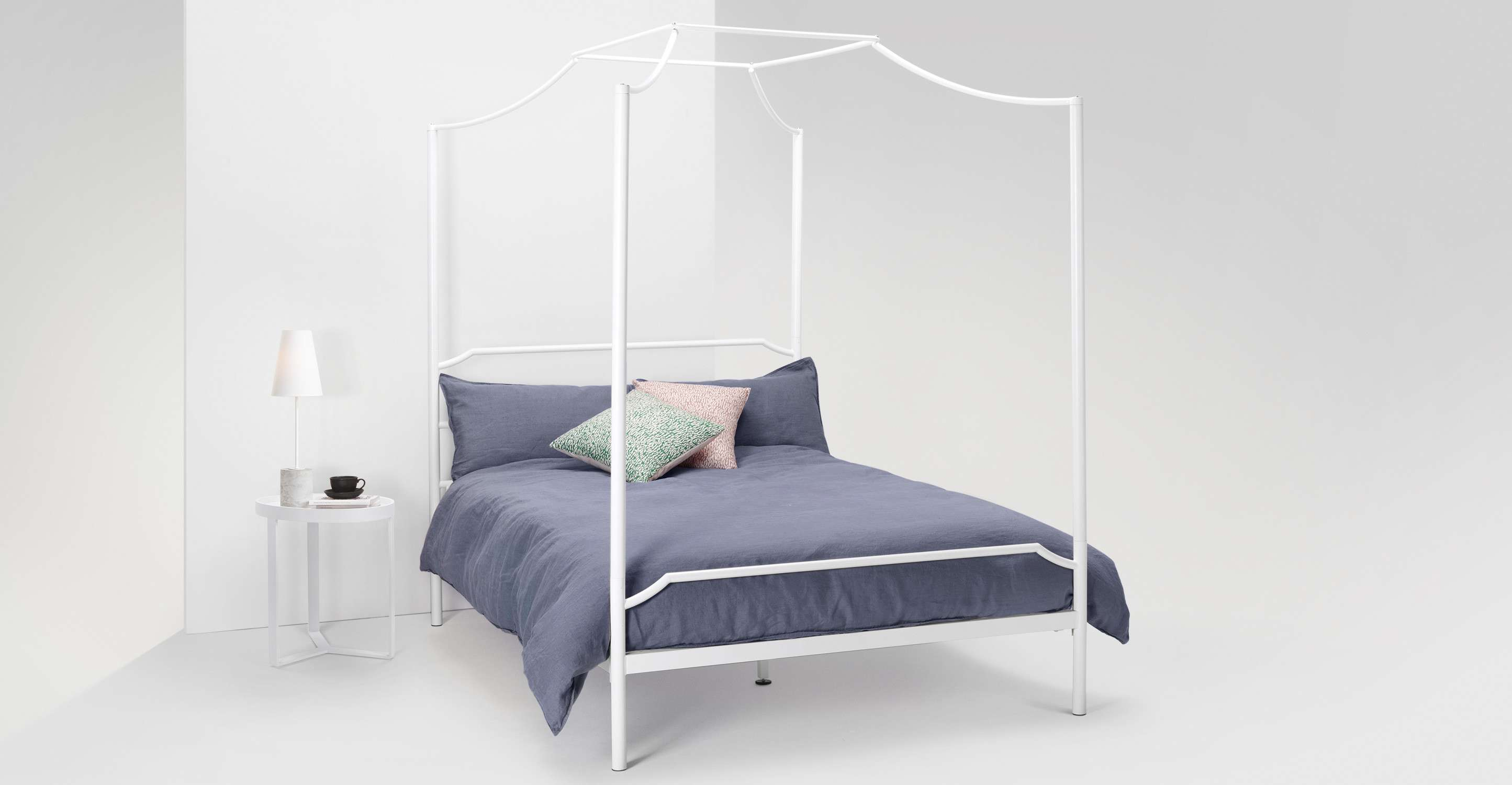 Albany Double Four Poster Bed White Mattress Not Included