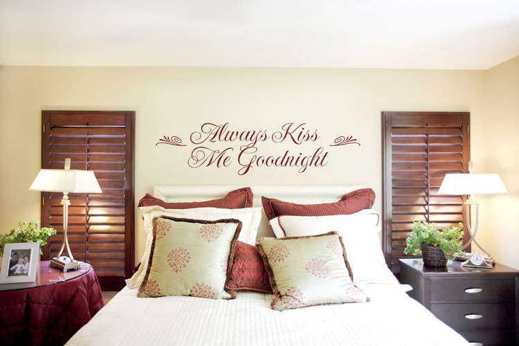 Always Kiss Goodnight Bedroom Wall Sticker Romantic Idea