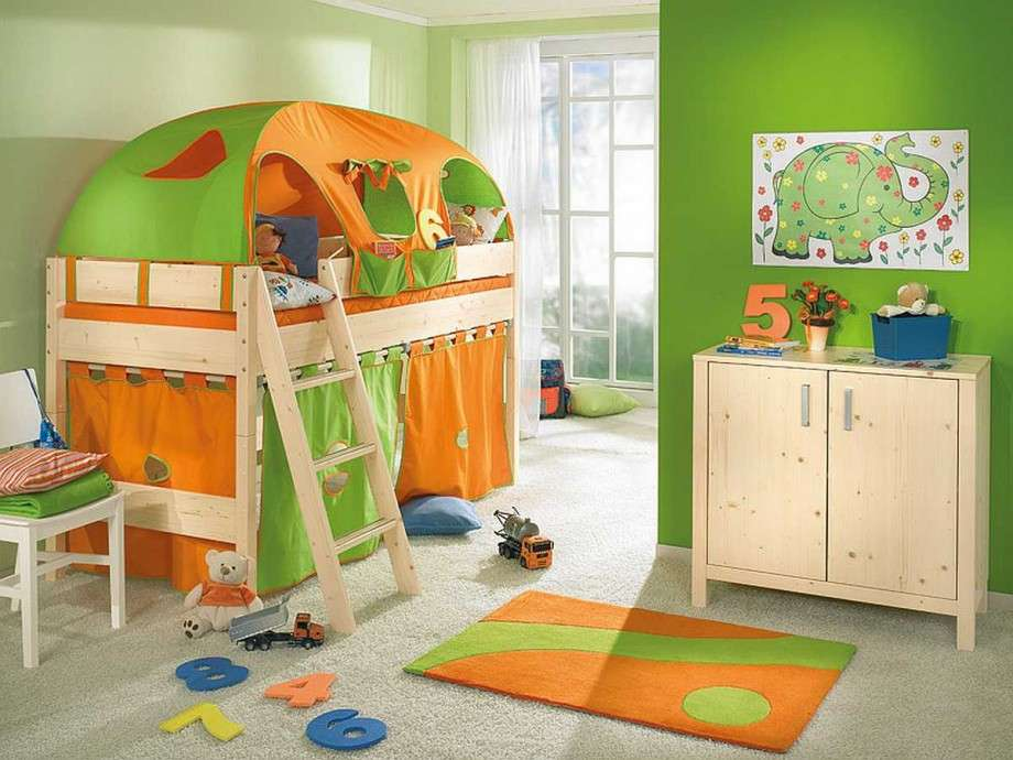 Amazing Cute Cool Bedroom Ideas Guys Green Orange Color Design