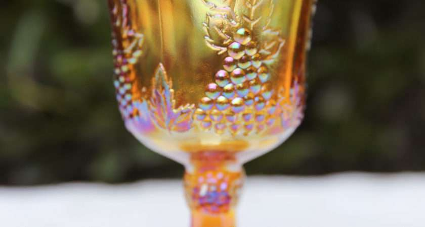 Amber Carnival Glass Goblets Pretty Vintage Event