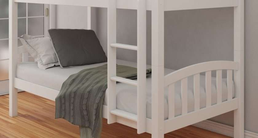 American White Finish Solid Pine Wooden Bunk Bed