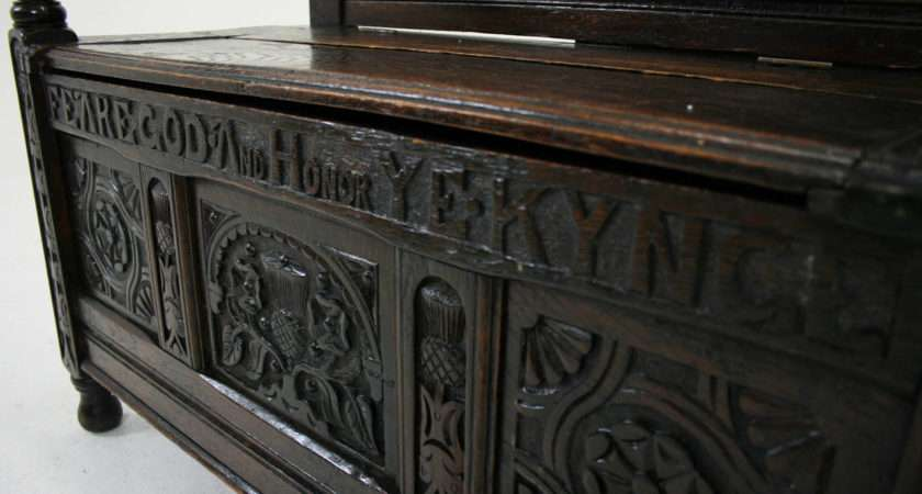Antique English Century Carved Oak Box Settle Hall Bench