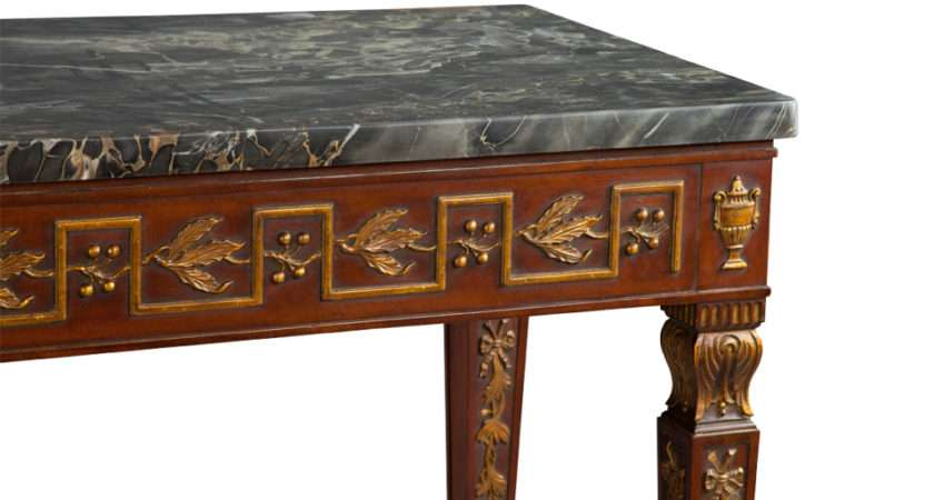 Antique Marble Top Mahogany Gilded Console Hall Entrance Table