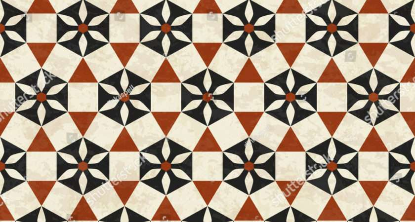 Antique Marbled Floor Tiles Abstract Geometric