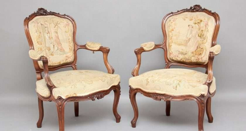 Antique Pair French Upholstered Armchairs Antiques