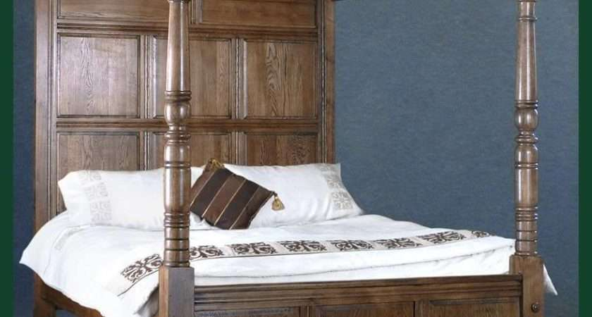 Antique Style Solid Oak Four Poster King Bed Ebay