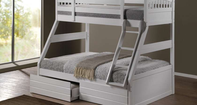 Ashley White Duo Double Single Bunk Beds Drawers