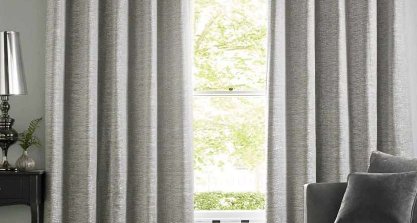Ashley Wilde Cairo Silver Chenille Lined Eyelet Curtains