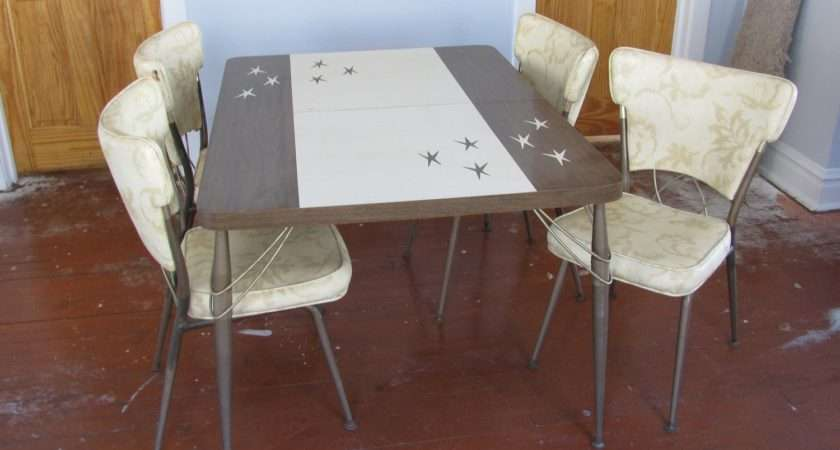 Atomic Formica Dinette Kitchen Table Four Chairs