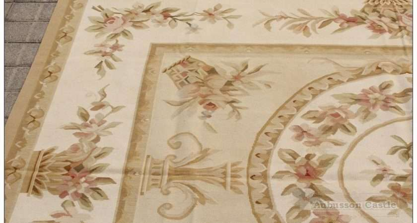 Aubusson Rug Pink Rose Country French Style Cream Wool Carpet Ebay