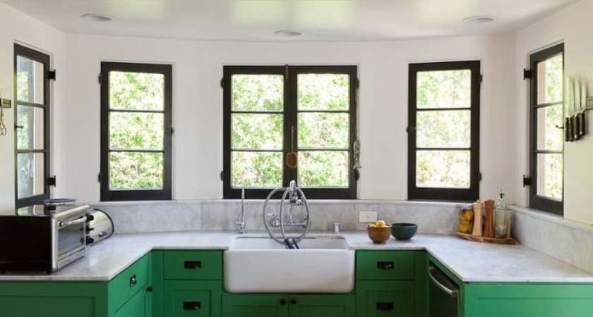 Awesome Green Marble Kitchen Black Windows Favorite