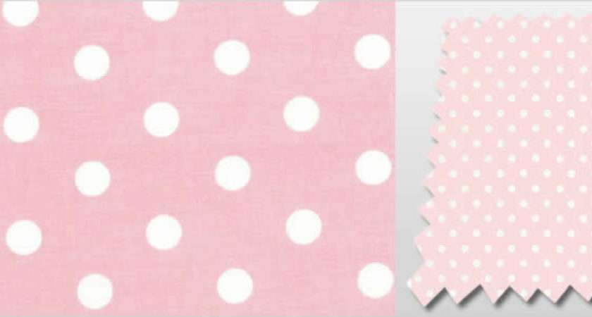 Baby Pink White Polka Dots Patterned Childrens Bedroom Curtains