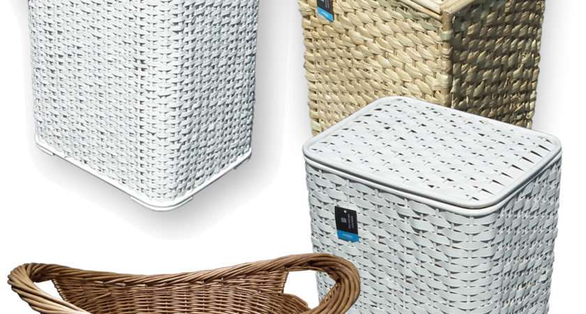 Bamboo Seagrass Wicker Laundry Basket Lid White Woven