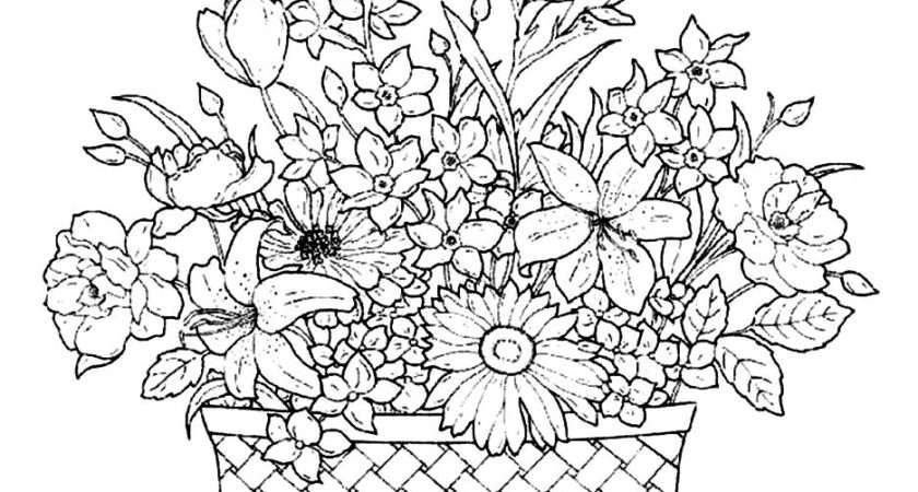 Basket Beautiful Flowers Coloring Pages