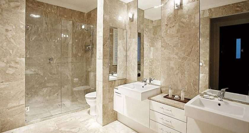 Bathroom Design Twin Basins Using Frameless Glass