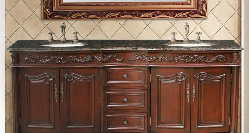 Bathroom Gorgeous Furniture Red Brown Cherry Wood