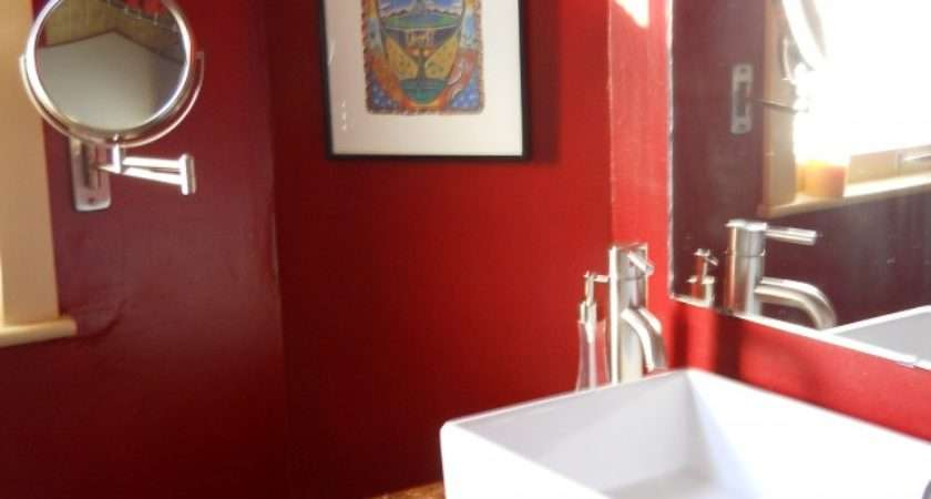 Bathroom Inspiration Enticing Red Wall Furnitures