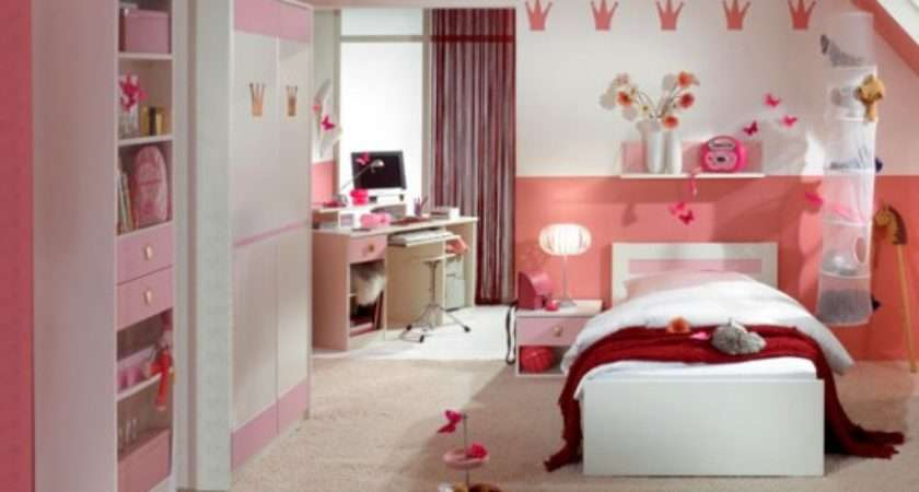 Beautiful Bedroom Girls Pink Color Theme Rooms