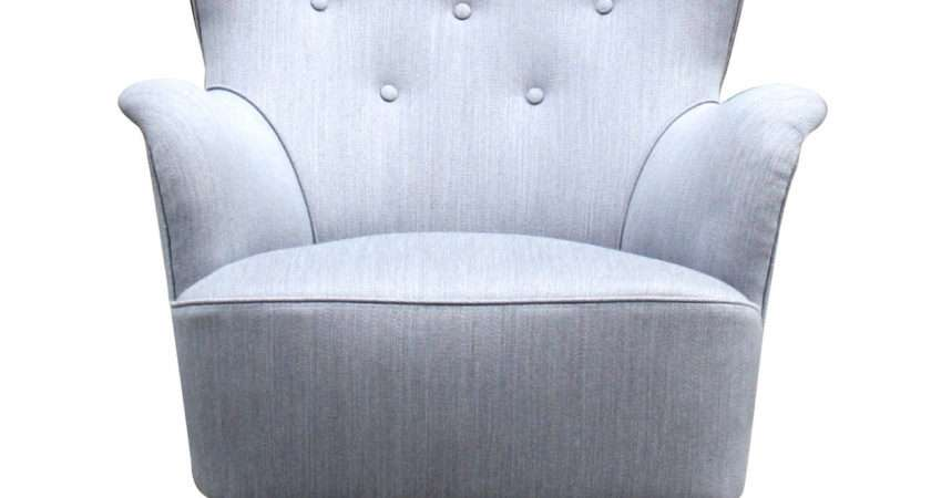 Beautiful Grey Small Scale Wingback Armchair Stdibs