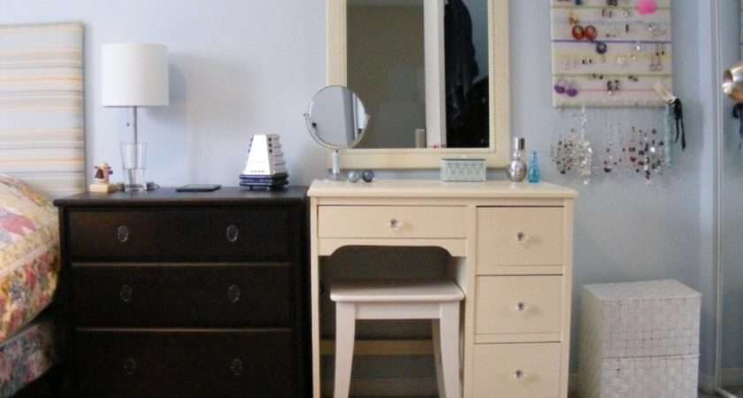 Bedroom Decorating Ideas Beige Vanity Using Soft Blue Wall Color