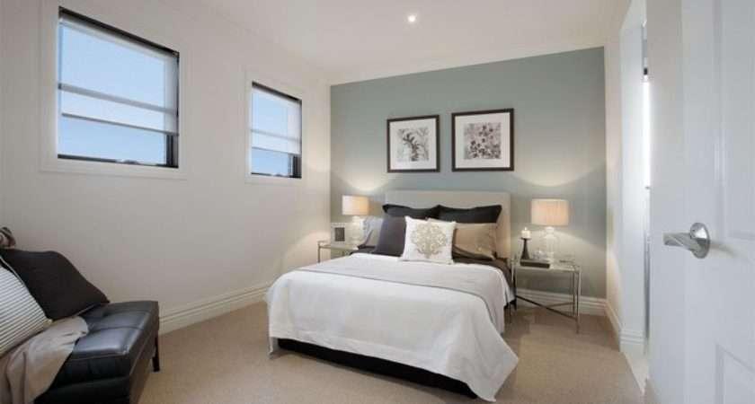 Bedroom Duck Egg Blue Painted Feature Wall Traditional