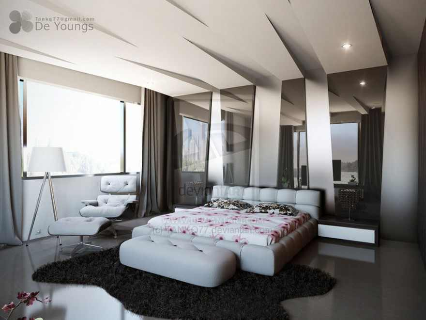 Bedroom Interior Modern Pop False Ceiling Designs