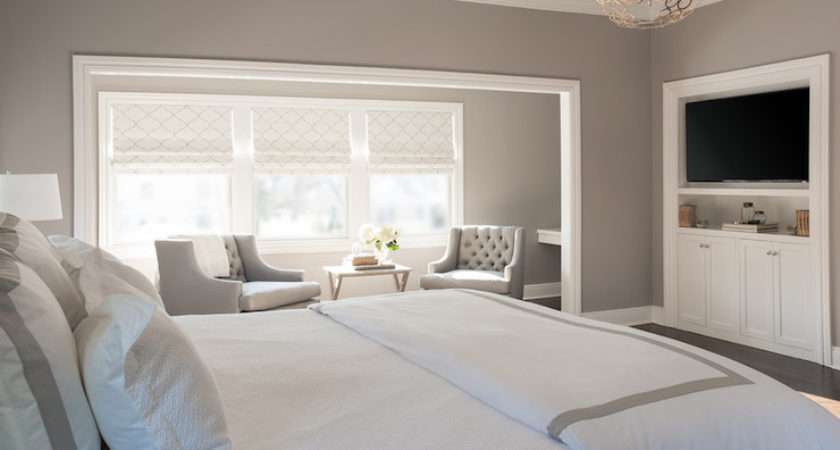 Bedroom Sitting Nook Features Gorgeous Gray Walls Tufted