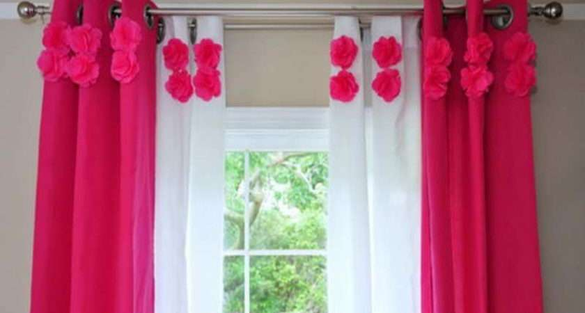 Bedroom White Red Cute Curtains Girls Room
