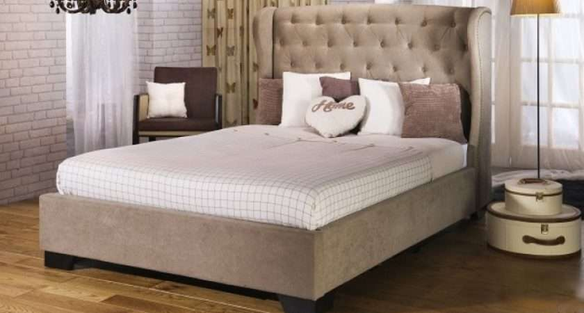 Beds Capella Bed Frame Double Stone Fabric Upholstered
