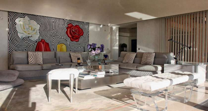 Beige Brown White Living Room Lounge Feature Wall