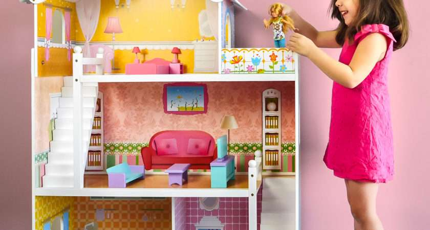 Best Choice Products Large Childrens Wooden Dollhouse Fits