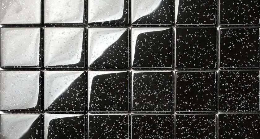 Black Glitter Glass Mosaic Wall Tiles Bathroom Shower