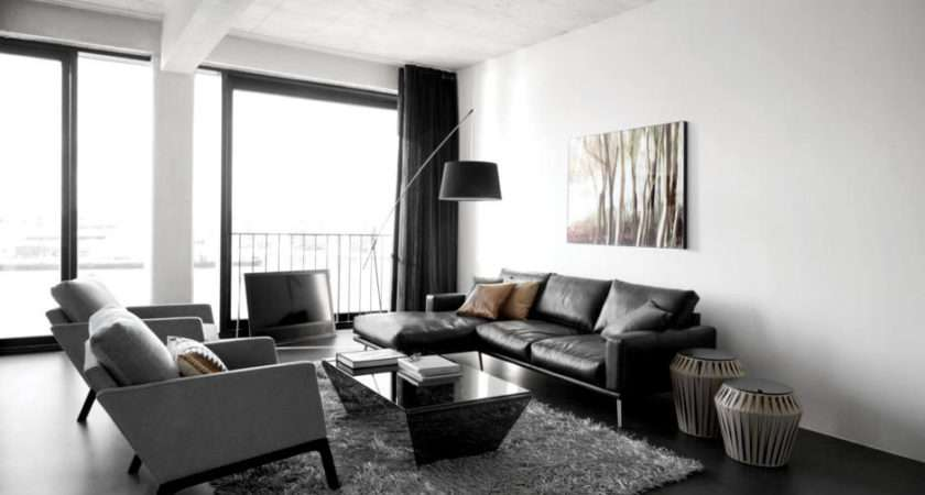 Black Gray Leather Sofa Combined Light Chairs