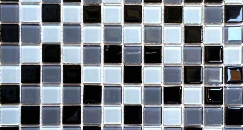 Black Grey Glass Mosaic Tiles Splashback Bathroom Shower
