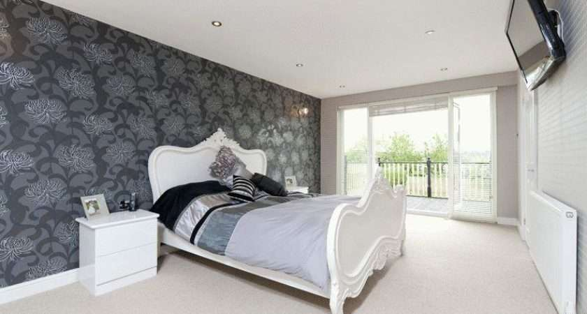 Black Grey Silver White Metallic Bedroom Feature Wall