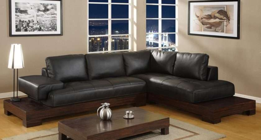 Black Leather Sofa Living Room Peenmedia