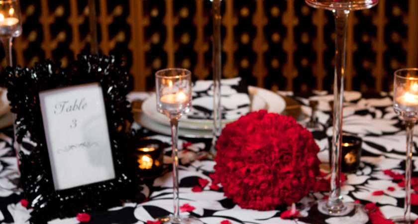 Black Red Table Settings Sweet Expressions Wedding
