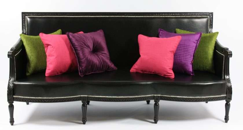 Black Seater Pvc French Louis Style Sofa High Gloss Hand
