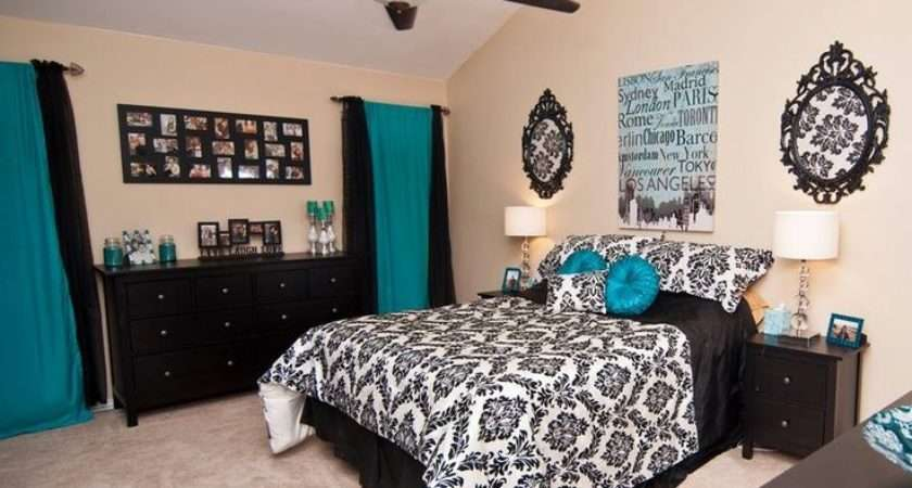 Black Silver Tiffany Blue White Bedroom