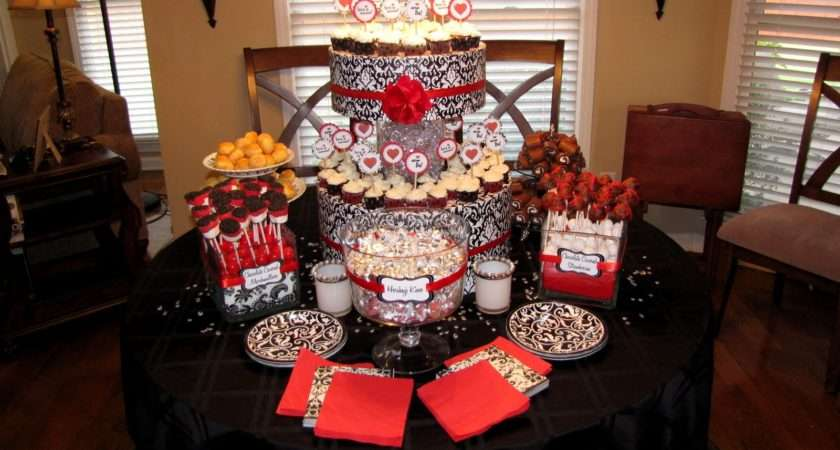 Black White Red Damask Wedding Candy Buffet