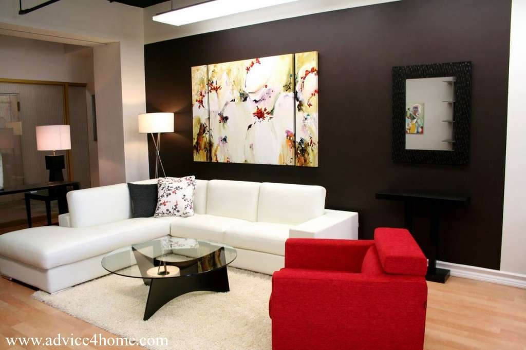 Black White Wall Red Sofa Design Living Room Home