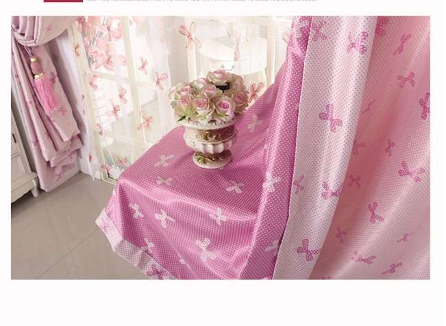 Blackout Soundproof Day Pink Nursery Cortinas Eyelet Hook
