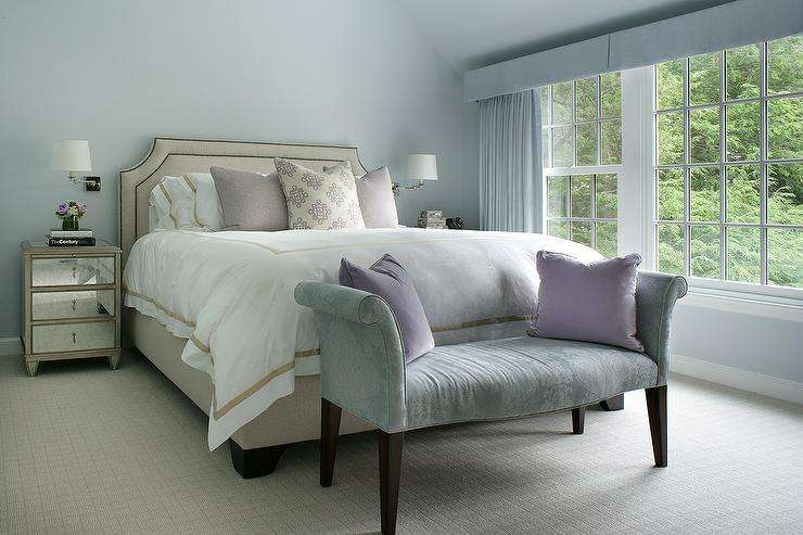 Blue Bedroom Beige Bed Mirrored Nightstands Transitional