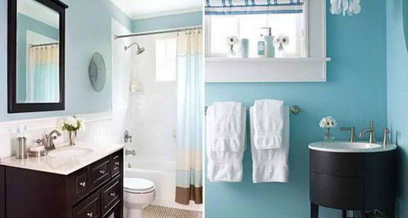 Blue Brown Color Scheme Modern Bathroom Decorating Ideas