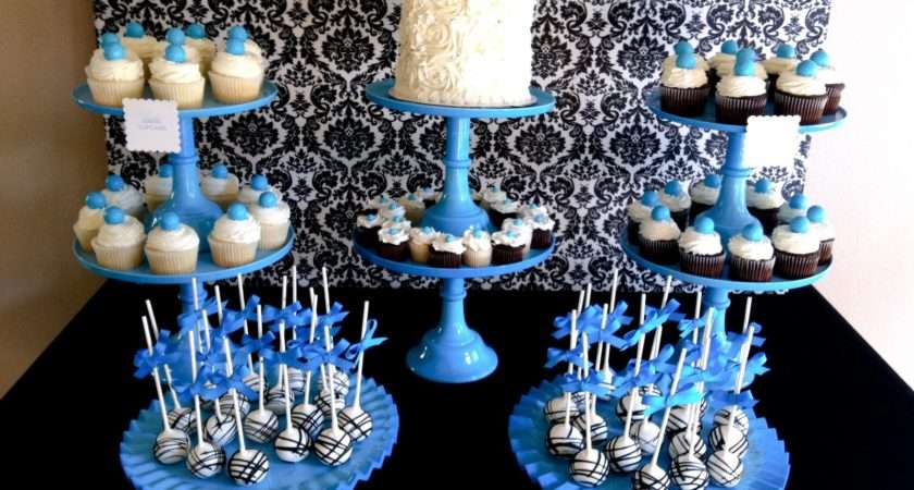 Blue Damask Dessert Table Jenny Cookies