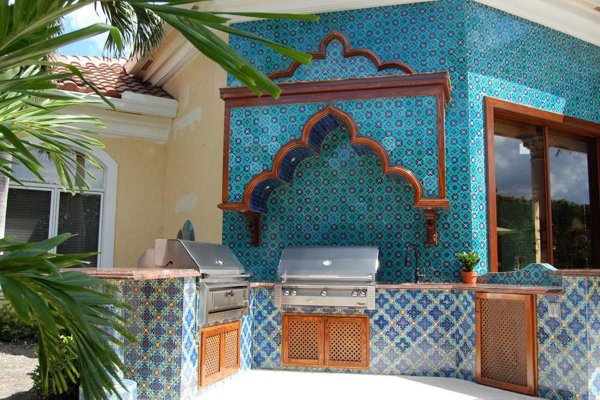 Blue Glass Moroccan Tiles Kitchen Backsplash Including Diagonal