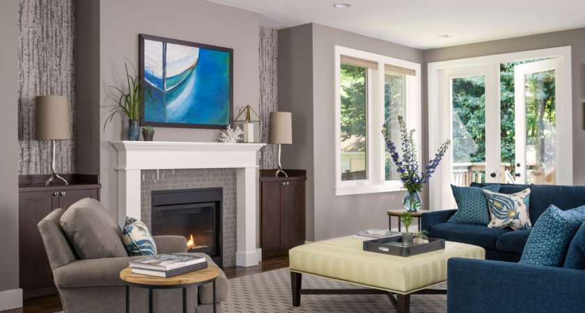Blue Grey Color Scheme Transitional Living Room